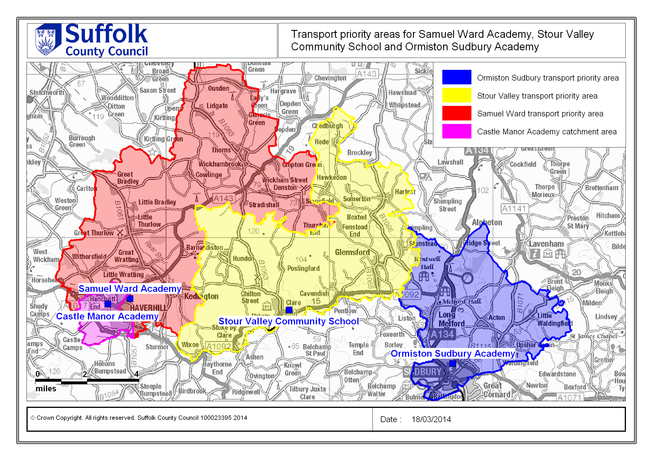 Suffolk On Board School Travel Transport Priority Areas