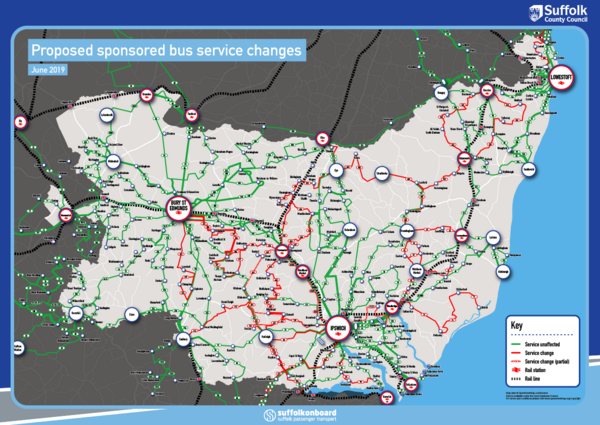 Proposed sponsored bus service changes map