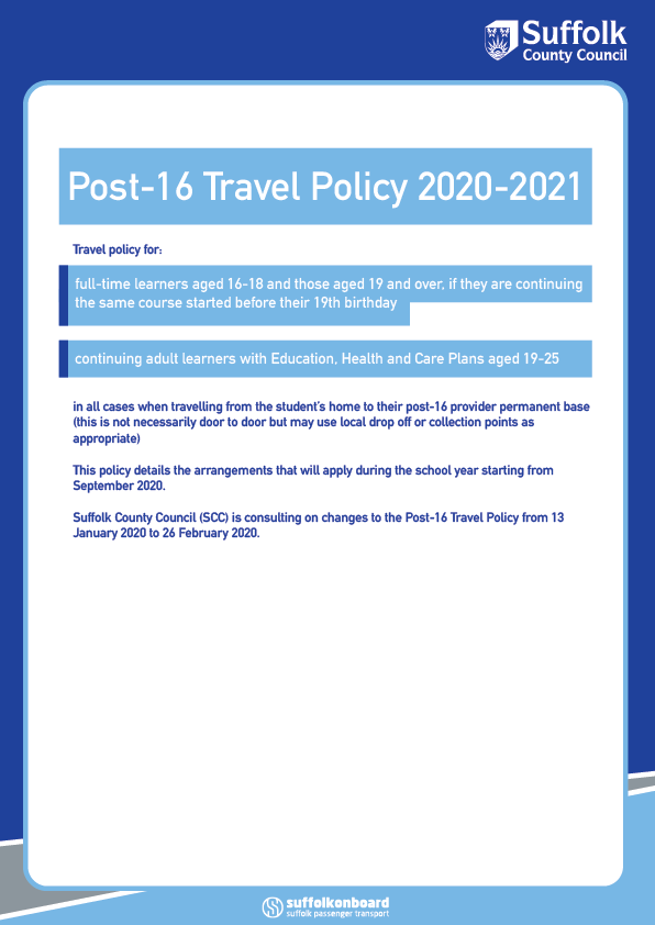 Post-16 Travel Cover 2020-2021